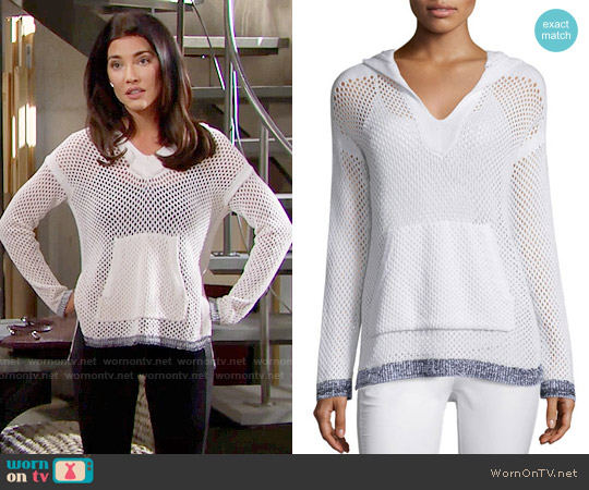 Rag & Bone Thea Mesh Hooded Sweatshirt worn by Jacqueline MacInnes Wood on The Bold & the Beautiful