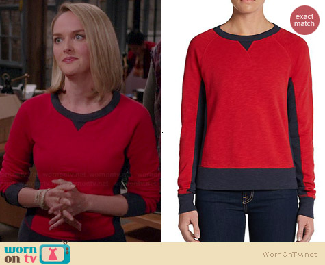 Rag & Bone Two Tone Terry Raglan Sweatshirt worn by Jess Weixler on The Good Wife