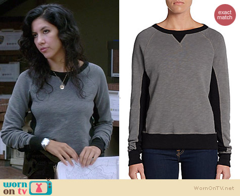 Rag & Bone Two Tone Terry Raglan Sweatshirt worn by Stephanie Beatriz on Brooklyn 99