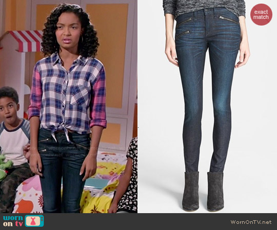 Rag & Bone Zip Detail Skinny Jeans worn by Zoey Johnson on Blackish
