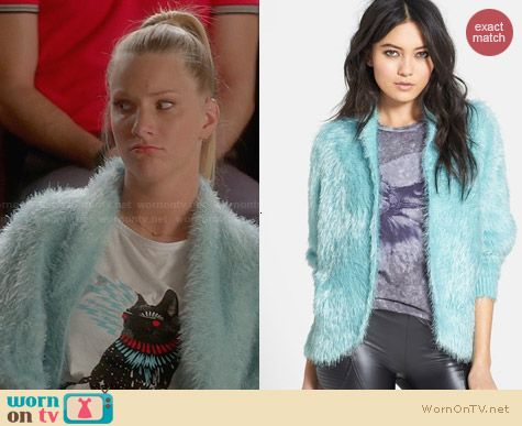 Raga Dolman Sleeve Faux Fur Cardigan worn by Heather Morris on Glee