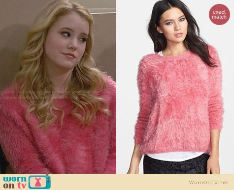 Raga Pink Textured Pullover worn by Taylor Sprietler on Melissa & Joey