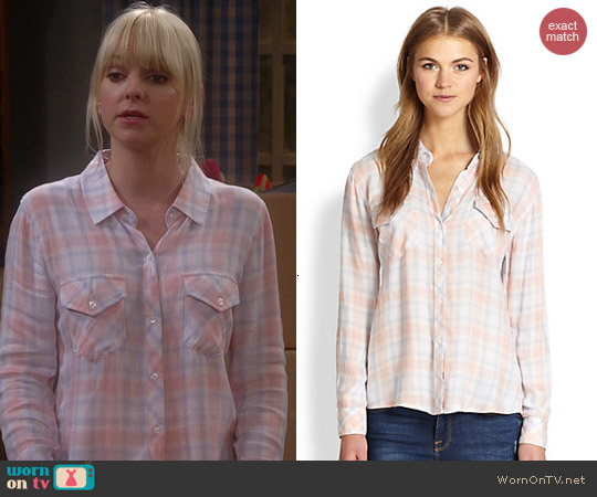 Rails Carmen Plaid Shirt in Peach worn by Anna Faris on Mom