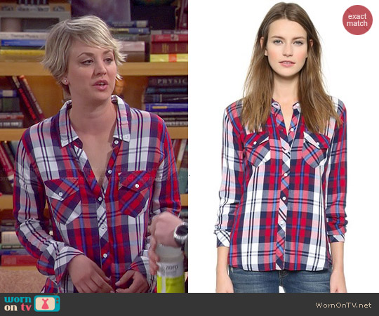 Rails 'Carmen' Shirt in Cherry Navy worn by Kaley Cuoco on The Big Bang Theory