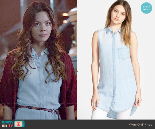 Rails Elizabeth Chambray Shirtdress worn by Scarlett Byrne on The Vampire Diaries