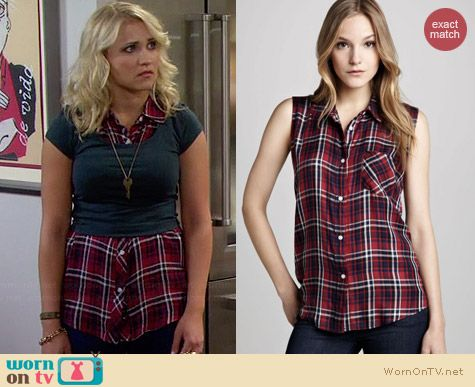 Rails Gavin Plaid Sleeveless Shirt worn by Emily Osment on Young & Hungry
