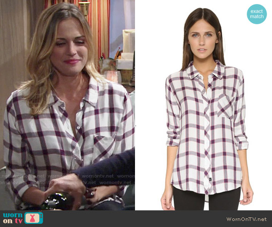 Rails Hunter Shirt in Cream/Rose worn by Kelly Sullivan on The Young & the Restless