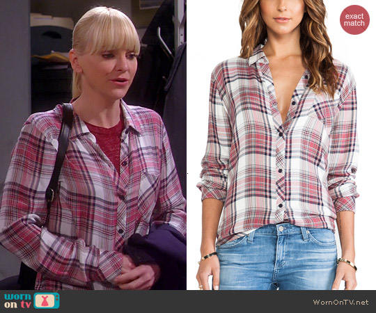 Rails Hunter Shirt in Rose/Cream worn by Anna Faris on Mom