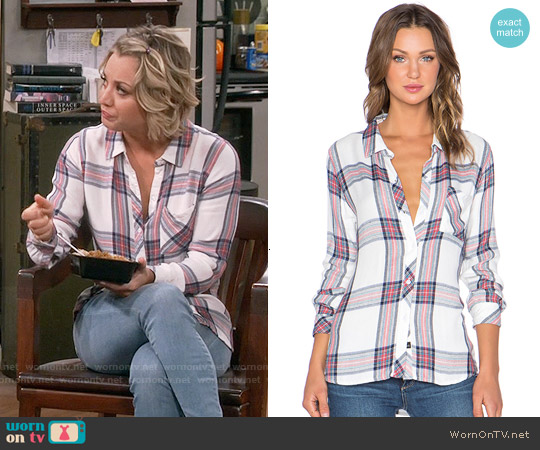 Rails Hunter Shirt in White Navy Coral worn by Kaley Cuoco on The Big Bang Theory
