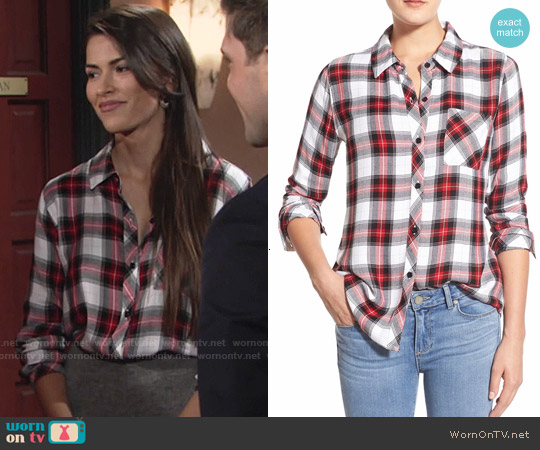 Rails Hunter Shirt in White / Red / Black worn by Sofia Pernas on The Young & the Restless