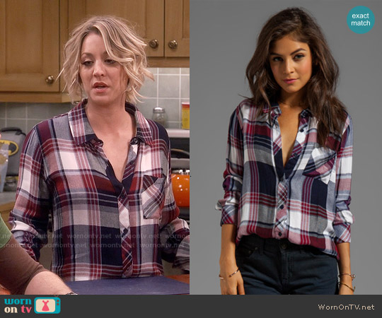 Rails Hunter Shirt in Wine / White worn by Kaley Cuoco on The Big Bang Theory