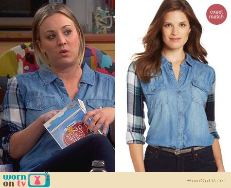 Rails Jackson Plaid Denim Shirt worn by Kaley Cuoco on The Big Bang Theory
