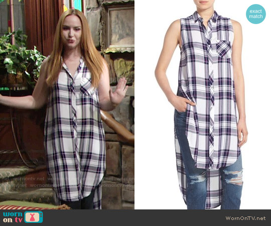 Rails 'Jordyn' Sleeveless Tunic in White / Navy / Orchid worn by Camryn Grimes on The Young & the Restless