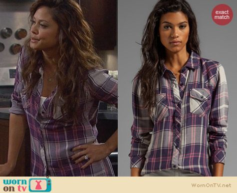Rails Kendra Navy and Pink Plaid Shirt worn by Vanessa Lachey on Dads