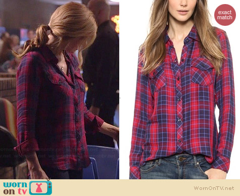 Rails Kendra Shirt in Candy Apple/Navy worn by Connie Britton on Nashville
