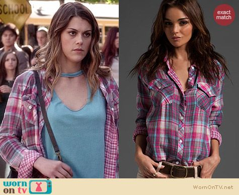 Rails Kendra Shirt in Magenta worn by Lindsey Shaw on PLL