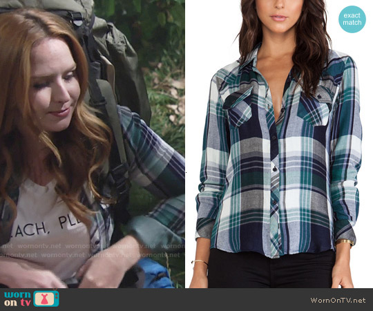 Rails Kendra Shirt in Navy/Green worn by Mariah Copeland on The Young & the Restless