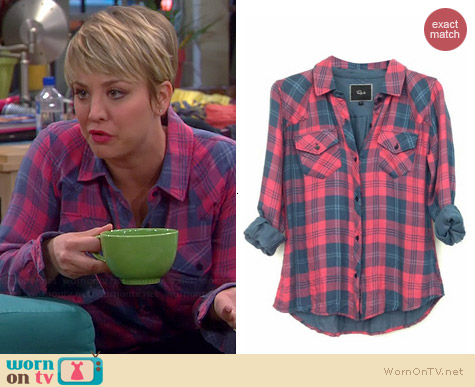 Rails Kendra Shirt in Red/Slate worn by Kaley Cuoco on The Big Bang Theory