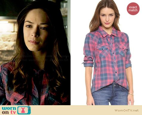 Rails Kendra Shirt in Red/Slate worn by Kristin Kreuk on BATB