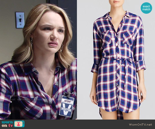 Rails Nadine Shirtdress in Cobalt / Ruby worn by Hunter King on The Young & the Restless