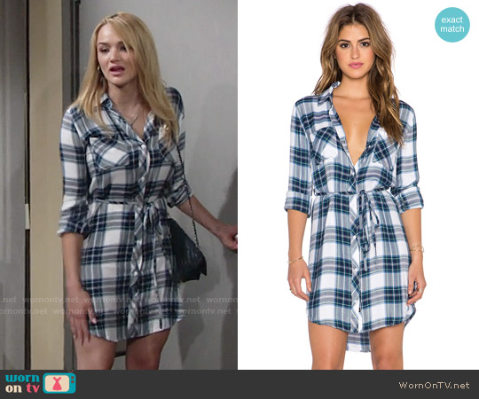 Rails Nadine Shirtdress in White/Jade worn by Hunter King on The Young & the Restless
