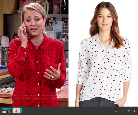 Rails Rocsi Heart Print Shirt worn by Kaley Cuoco on The Big Bang Theory