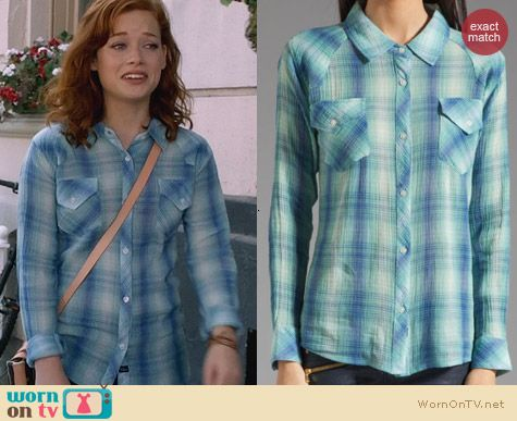Rails Taylor Button Down Shirt worn by Jane Levy on Suburgatory