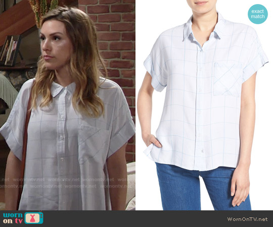 Rails 'Whitney' Windowpane Print Top worn by Elizabeth Hendrickson on The Young & the Restless