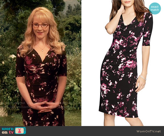 LAUREN Ralph Lauren Cowlneck Floral Print Dress worn by Melissa Rauch on The Big Bang Theory