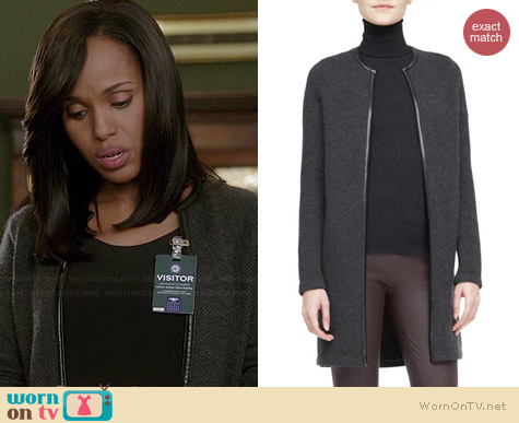 Ralph Lauren Black Label Nancy Long Cashmere Cardigan worn by Kerry Washington on Scandal