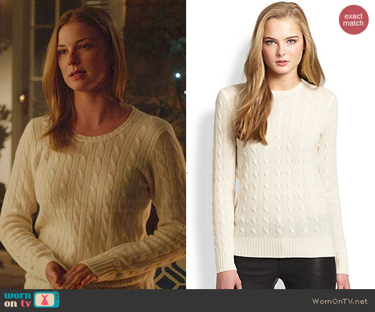 Polo Ralph Lauren Cashmere Cable Knit Sweater worn by Emily VanCamp on Revenge