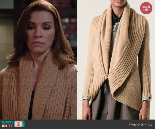 Ralph Lauren Black Label Shawl Collar Cardigan worn by Julianna Margulies on The Good Wife