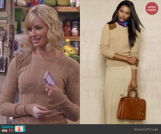 Ralph Lauren Blue Label Suede Patch Cabled Crewneck Sweater worn by Beth Behrs on 2 Broke Girls