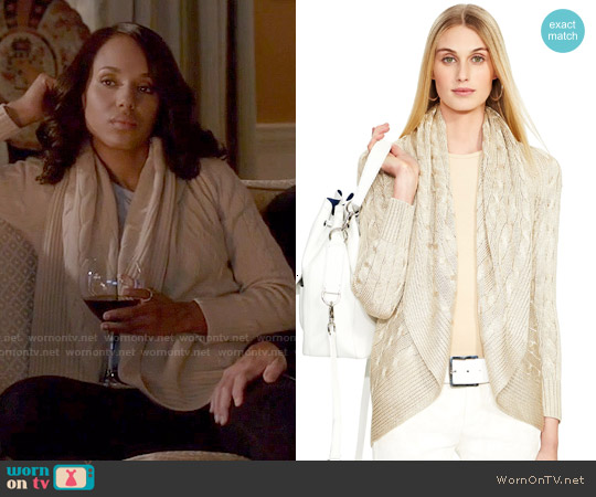 Ralph Lauren Black Label Cabled Cashmere Open Cardigan worn by Kerry Washington on Scandal