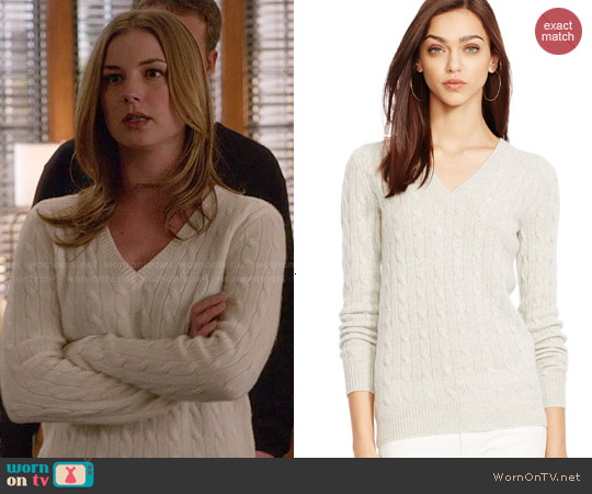 Polo Ralph Lauren Cabled Cashmere V-neck Sweater worn by Emily VanCamp on Revenge