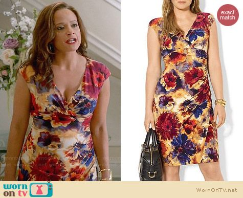 Ralph Lauren Cap Sleeve Floral Faux Wrap Dress worn by Judy Reyes on Devious Maids