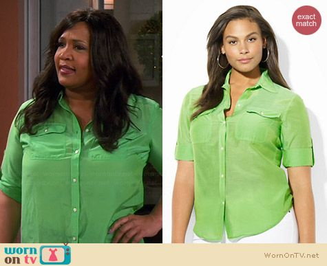 Ralph Lauren Cotton Silk Work Shirt in Zinnia Green worn by Kym Whitley on Young & Hungry