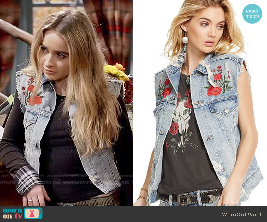 Ralph Lauren Denim Supply Embroidered Denim Trucker Vest worn by Maya Hart on Girl Meets World