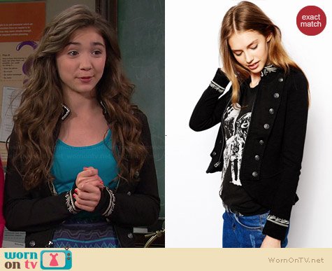 Ralph Lauren Denim & Supply Black Embroidered Jacket worn by Rowan Blanchard on Girl Meets World