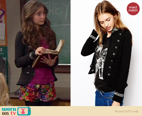 Ralph Lauren Denim & Supply Black Military Jacket worn by Rowan Blanchard on Girl Meets World