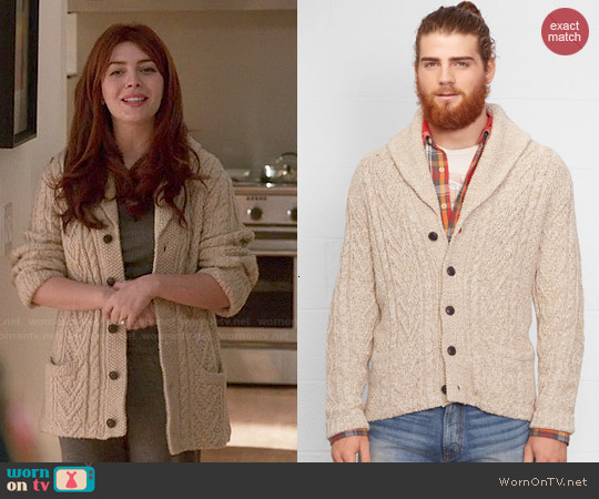 Ralph Lauren Denim & Supply Cabled Shawl-Collar Cardigan worn by Elena Satine on Revenge