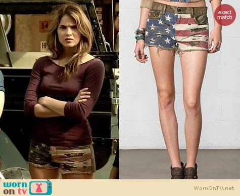 Ralph Lauren Denim & Supply Camo Flag Print Shorts worn by Shelley Hennig on Teen Wolf
