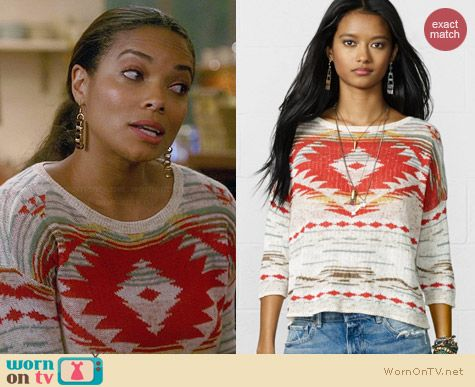 Ralph Lauren Denim & Supply Cropped Sleeve Sweater in Natural/Multi worn by Rochelle Aytes on Mistresses