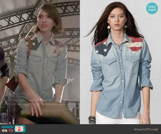 Ralph Lauren Denim & Supply Flag Applique Chambray Shirt worn by Shelley Hennig on Teen Wolf