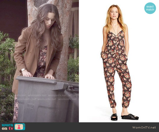 Ralph Lauren Denim & Supply Floral Print Racerback Jumpsuit worn by Troian Bellisario on PLL