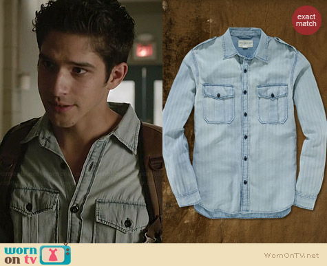 Ralph Lauren Denim & Supply Herringbone Sport Shirt worn by Tyler Posey on Teen Wolf