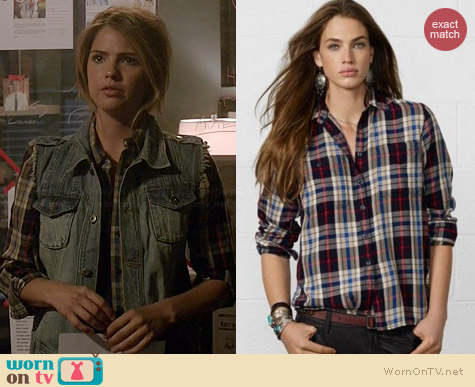 Ralph Lauren Denim & Supply Plaid Shirt worn by Shelley Hennig on Teen Wolf