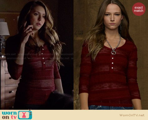 Ralph Lauren Denim & Supply Red Lace Henley Top worn by Nina Dobrev on The Vampire Diaries