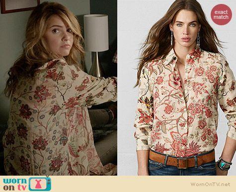 Ralph Lauren Denim & Supply Sheer Floral Shirt worn by Shelley Hennig on Teen Wolf