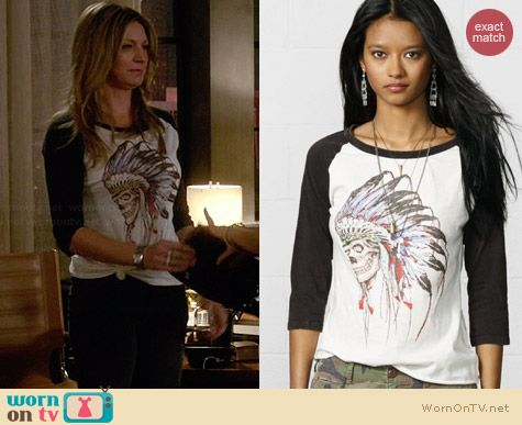 Ralph Lauren Denim & Supply Skull Tattoo Baseball Tee worn by Jess Macallan on Mistresses